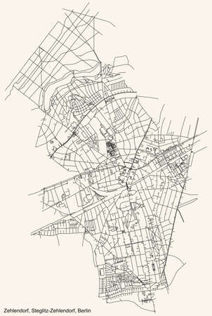 Black simple detailed city street roads map plan on vintage beige background of the neighbourhood Zehlendorf locality of the Steglitz-Zehlendorf of borough of Berlin, Germany
