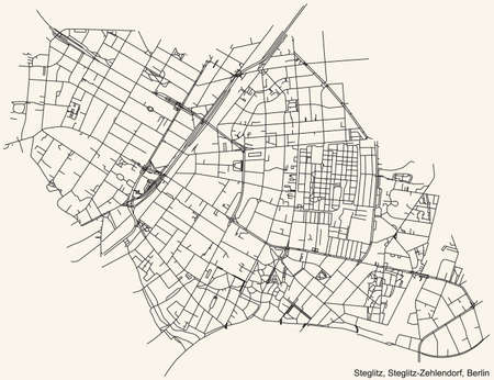 Black simple detailed city street roads map plan on vintage beige background of the neighbourhood Steglitz locality of the Steglitz-Zehlendorf of borough of Berlin, Germany