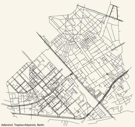 Black simple detailed city street roads map plan on vintage beige background of the neighbourhood Adlershof locality of the Treptow-Köpenick of borough of Berlin, Germany Vektoros illusztráció