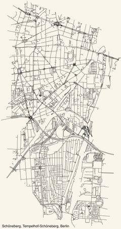 Black simple detailed city street roads map plan on vintage beige background of the neighbourhood Schöneberg locality of the Tempelhof-Schöneberg of borough of Berlin, Germany
