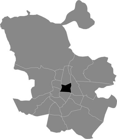 Black location map of Madrilenian Salamanca neighborhood inside gray map of Madrid, Spain