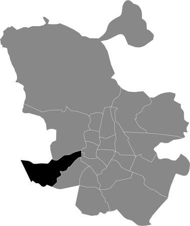 Black location map of Madrilenian Latina neighborhood inside gray map of Madrid, Spain