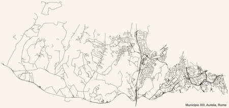 Black simple detailed street roads map on vintage beige background of the neighbourhood Municipio XIII – Aurelia municipality of Rome, Italy