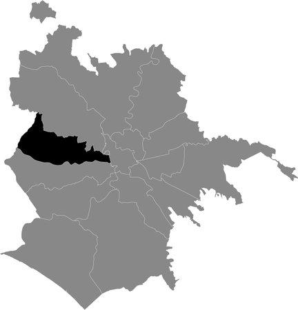 Black location map of Roman Municipio XIII – Aurelia municipality inside gray map of Rome, Italy