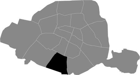 Black location map of Parisian arrondissement de l'Observatoire, 14th arrondissement inside gray map of Paris, France Ilustração