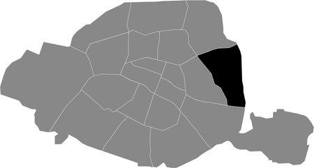 Black location map of Parisian Ménilmontant, 20th arrondissement inside gray map of Paris, France
