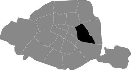 Black location map of Parisian onzième, 11th arrondissement inside gray map of Paris, France