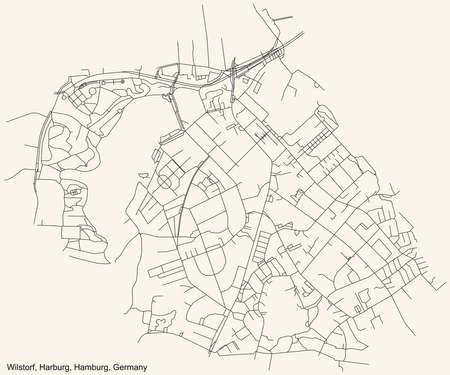 Black simple detailed street roads map on vintage beige background of the neighbourhood Wilstorf quarter of the Harburg borough (bezirk) of the Free and Hanseatic City of Hamburg, Germany