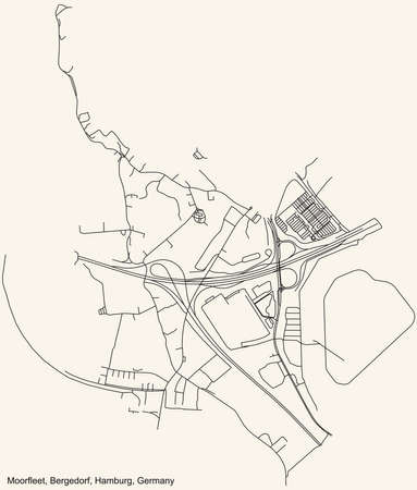 Black simple detailed street roads map on vintage beige background of the neighbourhood Moorfleet quarter of the Bergedorf borough (bezirk) of the Free and Hanseatic City of Hamburg, Germany