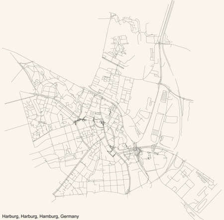 Black simple detailed street roads map on vintage beige background of the neighbourhood Harburg quarter of the Harburg borough (bezirk) of the Free and Hanseatic City of Hamburg, Germany