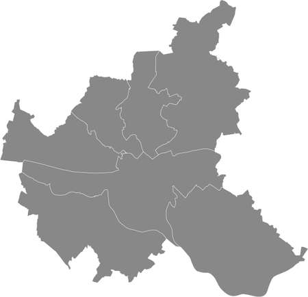 Simple gray vector map with white borders of boroughs (bezirke) of the Free and Hanseatic City of Hamburg, Germany