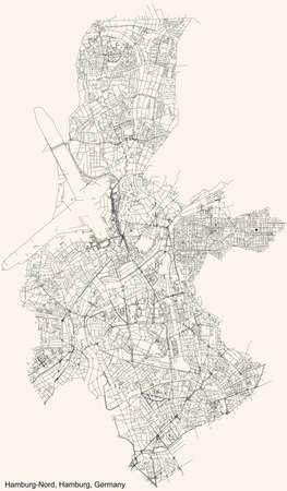 Black simple detailed street roads map on vintage beige background of the neighbourhood Hamburg-Nord borough (bezirk) of the Free and Hanseatic City of Hamburg, Germany