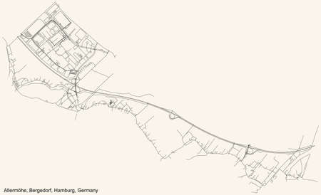 Black simple detailed street roads map on vintage beige background of the neighbourhood Allermöhe quarter of the Bergedorf borough (bezirk) of the Free and Hanseatic City of Hamburg, Germany