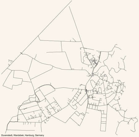 Black simple detailed street roads map on vintage beige background of the neighbourhood Duvenstedt quarter of the Wandsbek borough (bezirk) of the Free and Hanseatic City of Hamburg, Germany