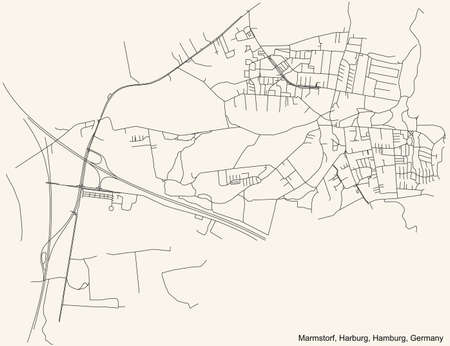 Black simple detailed street roads map on vintage beige background of the neighbourhood Marmstorf quarter of the Harburg borough (bezirk) of the Free and Hanseatic City of Hamburg, Germany