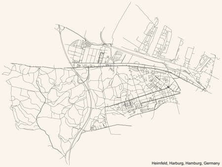 Black simple detailed street roads map on vintage beige background of the neighbourhood Heimfeld quarter of the Harburg borough (bezirk) of the Free and Hanseatic City of Hamburg, Germany