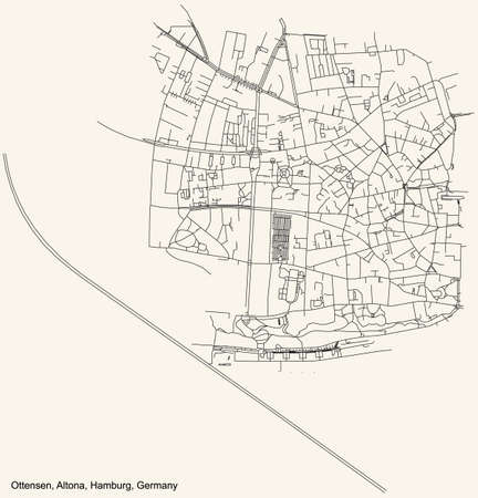 Black simple detailed street roads map on vintage beige background of the neighbourhood Ottensen quarter of the Altona borough (bezirk) of the Free and Hanseatic City of Hamburg, Germany