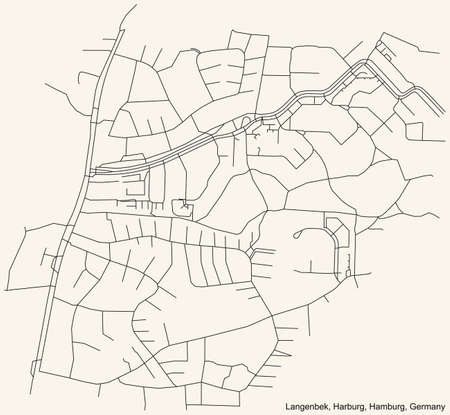 Black simple detailed street roads map on vintage beige background of the neighbourhood Langenbek quarter of the Harburg borough (bezirk) of the Free and Hanseatic City of Hamburg, Germany