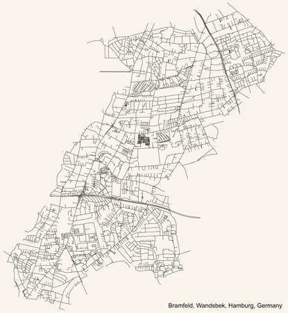 Black simple detailed street roads map on vintage beige background of the neighbourhood Bramfeld quarter of the Wandsbek borough (bezirk) of the Free and Hanseatic City of Hamburg, Germany