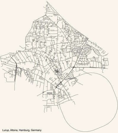 Black simple detailed street roads map on vintage beige background of the neighbourhood Lurup quarter of the Altona borough (bezirk) of the Free and Hanseatic City of Hamburg, Germany