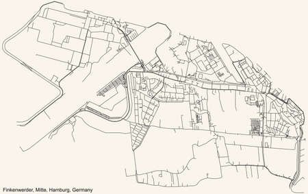 Black simple detailed street roads map on vintage beige background of the neighbourhood Finkenwerder quarter of the Hamburg-Mitte borough (bezirk) of the Free and Hanseatic City of Hamburg, Germany
