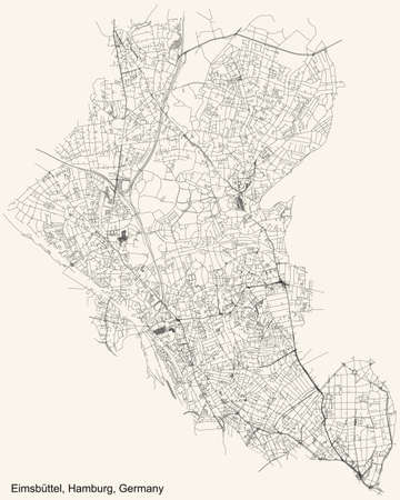 Black simple detailed street roads map on vintage beige background of the neighbourhood Eimsbüttel borough (bezirk) of the Free and Hanseatic City of Hamburg, Germany