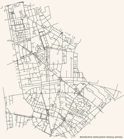 Black simple detailed street roads map on vintage beige background of the neighbourhood Barmbek-Nord quarter of the Hamburg-Nord borough (bezirk) of the Free and Hanseatic City of Hamburg, Germany