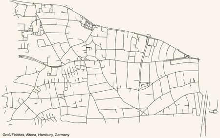 Black simple detailed street roads map on vintage beige background of the neighbourhood Groß Flottbek quarter of the Altona borough (bezirk) of the Free and Hanseatic City of Hamburg, Germany