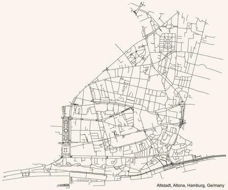 Black simple detailed street roads map on vintage beige background of the neighbourhood Altona-Altstadt quarter of the Altona borough (bezirk) of the Free and Hanseatic City of Hamburg, Germany