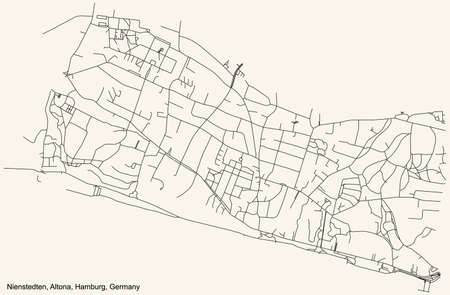 Black simple detailed street roads map on vintage beige background of the neighbourhood Nienstedten quarter of the Altona borough (bezirk) of the Free and Hanseatic City of Hamburg, Germany