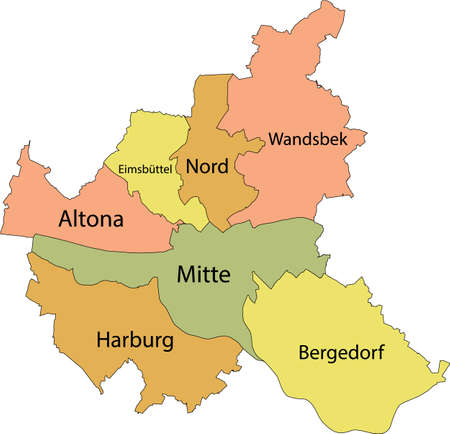 Simple pastel vector map with black borders and names of boroughs (bezirke) of the Free and Hanseatic City of Hamburg, Germany