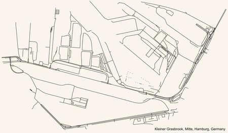 Black simple detailed street roads map on vintage beige background of the neighbourhood Kleiner Grasbrook quarter of the Hamburg-Mitte borough (bezirk) of the Free and Hanseatic City of Hamburg, Germa
