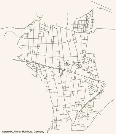 Black simple detailed street roads map on vintage beige background of the neighbourhood Iserbrook quarter of the Altona borough (bezirk) of the Free and Hanseatic City of Hamburg, Germany