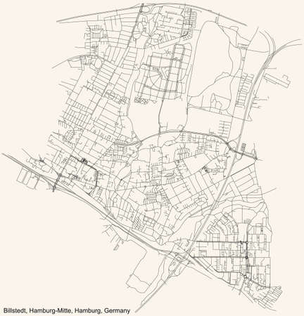 Black simple detailed street roads map on vintage beige background of the neighbourhood Billstedt quarter of the Hamburg-Mitte borough (bezirk) of the Free and Hanseatic City of Hamburg, Germany