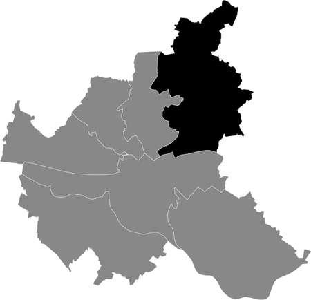 Black location map of the Hamburger Wandsbek borough (bezirk) inside gray map of the Free and Hanseatic City of Hamburg, Germany