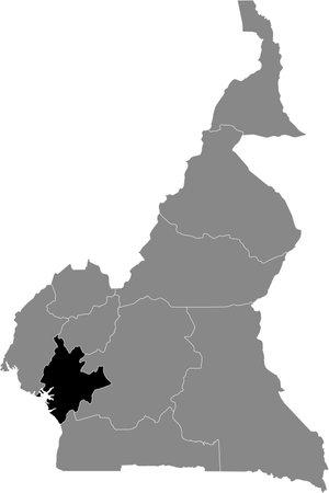Black location map of Cameroonian Littoral region inside gray map of Cameroon