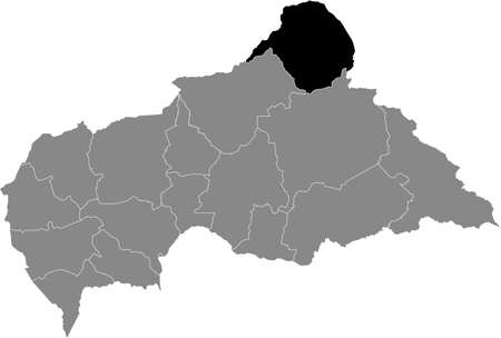 Black location map of Central African Vakaga prefecture inside gray map of the Central African Republic