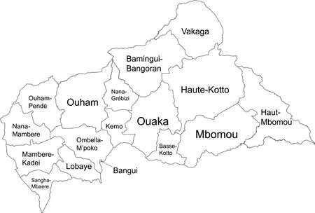 White vector map of the Central African Republic with black borders and names of its prefectures