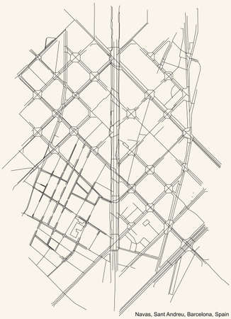 Black simple detailed street roads map on vintage beige background of the Navas neighbourhood of the Sant Andreu district of Barcelona, Spain