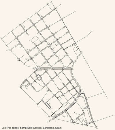 Black simple detailed street roads map on vintage beige background of the Les Tres Torres neighbourhood of the Sarrià-Sant Gervasi district of Barcelona, Spain
