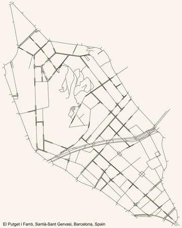 Black simple detailed street roads map on vintage beige background of the El Putget i Farró neighbourhood of the Sarrià-Sant Gervasi district of Barcelona, Spain