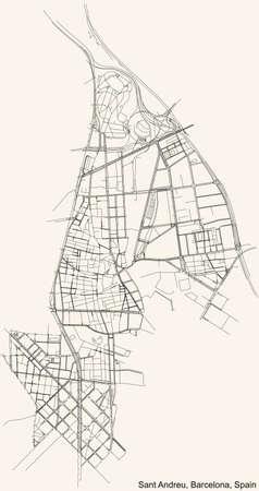 Black simple detailed street roads map on vintage beige background of the quarter Sant Andreu district of Barcelona, Spain Vettoriali