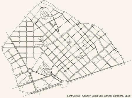 Black simple detailed street roads map on vintage beige background of the Sant Gervasi - Galvany neighbourhood of the Sarrià-Sant Gervasi district of Barcelona, Spain