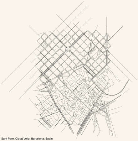Black simple detailed street roads map on vintage beige background of the Sant Pere, Santa Caterina i la Ribera neighbourhood of the Ciutat Vella district of Barcelona, Spain