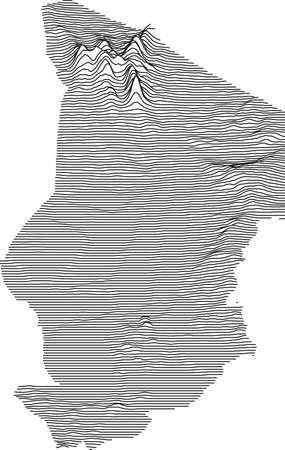 Topographic map of Chad with black contour lines