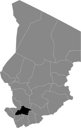 Black location map of Chadian Tandjilé region inside gray map of Chad