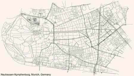 Black simple detailed street roads map on vintage beige background of the quarter Neuhausen-Nymphenburg borough (Stadtbezirk) of Munich, Germany