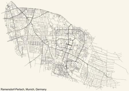 Black location map of the Münchner Allach-Untermenzing borough (stadtbezirk) inside gray map of Munich, Germany