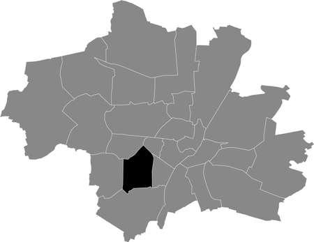 Black location map of the Münchner Sendling-Westpark borough (stadtbezirk) inside gray map of Munich, Germany