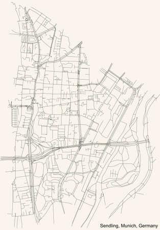 Black simple detailed street roads map on vintage beige background of the quarter Sendling borough (Stadtbezirk) of Munich, Germany